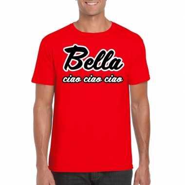 Goedkoop toppers rood bella ciao t shirt heren carnavalskleding