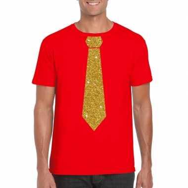 Goedkoop toppers rood fun t shirt stropdas glitter goud heren carnava