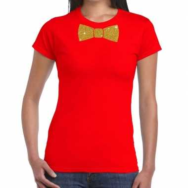 Goedkoop toppers rood fun t shirt vlinderdas glitter goud dames carna
