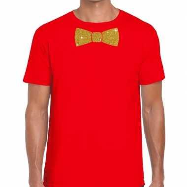 Goedkoop toppers rood fun t shirt vlinderdas glitter goud heren carna