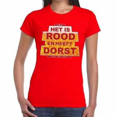 Goedkoop toppers rood is rood heeft dorst t shirt dames carnavalskled
