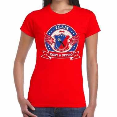 Goedkoop toppers rood kort pittig team t shirt dames carnavalskleding