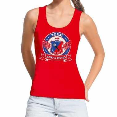 Goedkoop toppers rood kort pittig team tanktop / mouwloos shirt dame