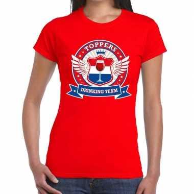 Goedkoop toppers rood toppers drinking team t shirt dames carnavalskl