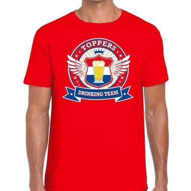Goedkoop toppers rood toppers drinking team t shirt heren carnavalskl