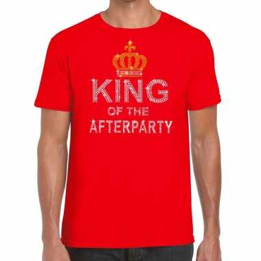 Goedkoop toppers rood toppers king of the afterparty glitter t shirt