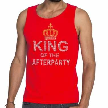 Goedkoop toppers rood toppers king of the afterparty glitter tanktop