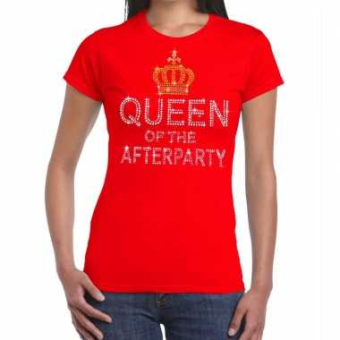 Goedkoop toppers rood toppers queen of the afterparty glitter t shirt