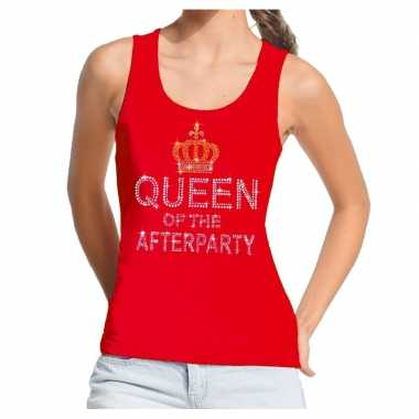 Goedkoop toppers rood toppers queen of the afterparty glitter tanktop dames carnavalskleding