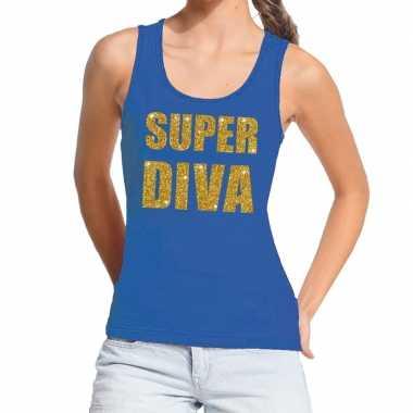 Goedkoop toppers super diva glitter tanktop / mouwloos shirt blauw da
