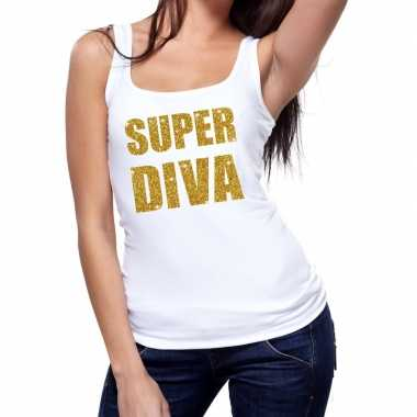 Goedkoop toppers super diva glitter tanktop / mouwloos shirt wit dame