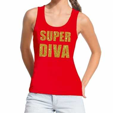Goedkoop toppers super diva glitter tekst tanktop / mouwloos shirt ro