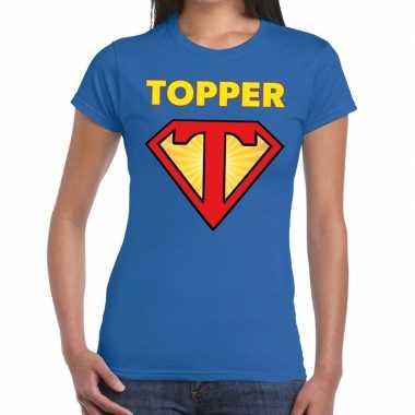 Goedkoop toppers super topper logo t shirt blauw dames carnavalskledi