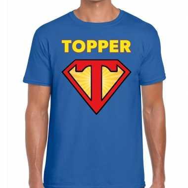 Goedkoop toppers super topper logo t shirt blauw heren carnavalskledi