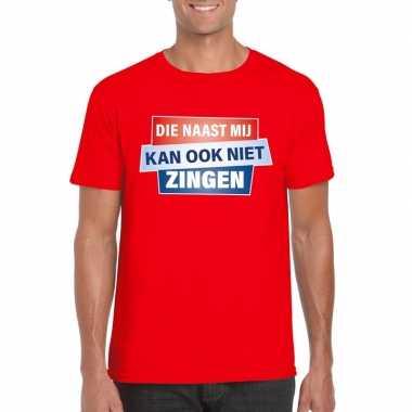 Goedkoop toppers t shirt die naast mij kan ook niet zingen shirt rood