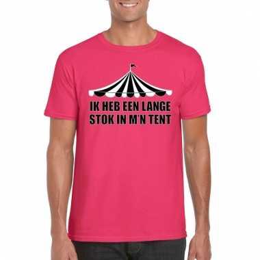 Goedkoop toppers t shirt roze lange stok heren carnavalskleding