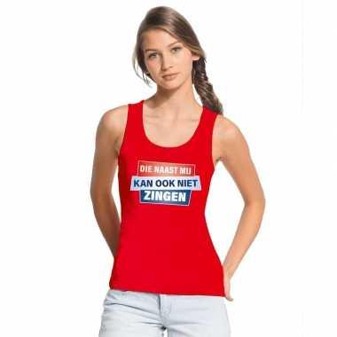 Goedkoop toppers tanktop / mouwloos kan ook niet zingen shirt rood da