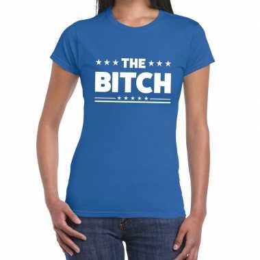 Goedkoop toppers the bitch fun tekst t shirt blauw dames carnavalskle