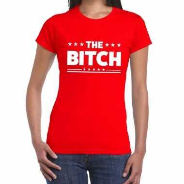 Goedkoop toppers the bitch fun tekst t shirt rood dames carnavalskled