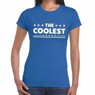 Goedkoop toppers the coolest tekst t shirt blauw dames carnavalskledi