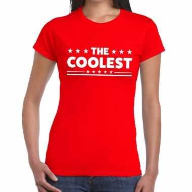 Goedkoop toppers the coolest tekst t shirt rood dames carnavalskledin