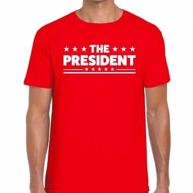 Goedkoop toppers the president heren t shirt rood carnavalskleding