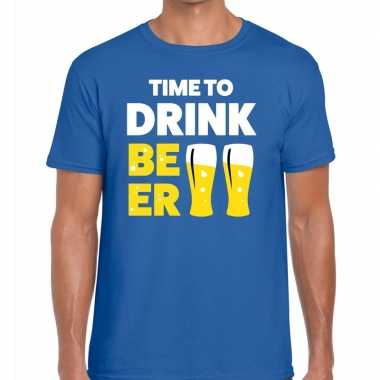 Goedkoop toppers time to drink beer heren t shirt blauw carnavalskled