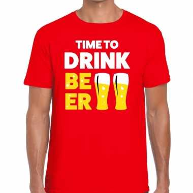 Goedkoop toppers time to drink beer heren t shirt rood carnavalskledi