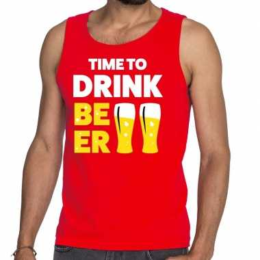 Goedkoop toppers time to drink beer tekst tanktop / mouwloos shirt ro