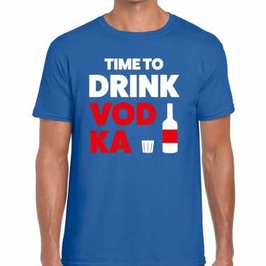 Goedkoop toppers time to drink vodka heren t shirt blauw carnavalskle