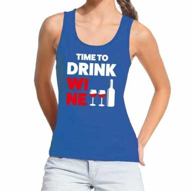 Goedkoop toppers time to drink wine tekst tanktop / mouwloos shirt bl