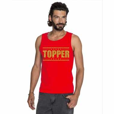 Goedkoop toppers topper mouwloos shirt rood gouden glitters heren car