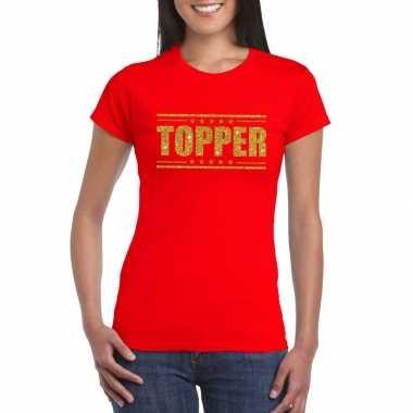 Goedkoop toppers topper t shirt rood gouden glitters dames carnavalsk