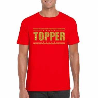Goedkoop toppers topper t shirt rood gouden glitters heren carnavalsk