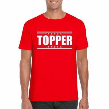 Goedkoop toppers topper t shirt rood heren carnavalskleding