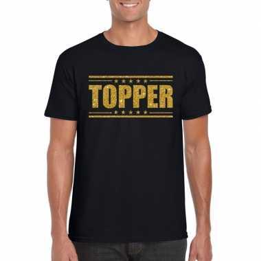 Goedkoop toppers topper t shirt zwart gouden glitters heren carnavals