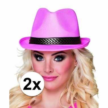 Goedkoop toppers trilby hoed roze stuks volwassenen carnavalskleding