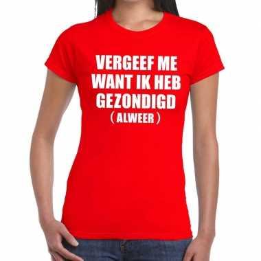 Goedkoop toppers vergeef me tekst t shirt rood dames carnavalskleding