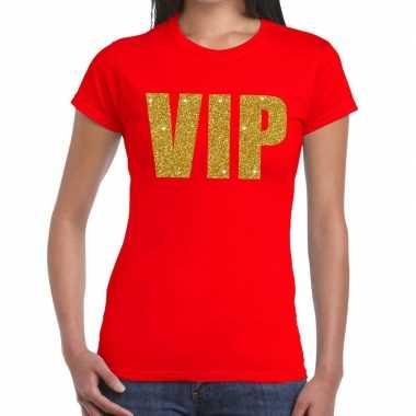 Goedkoop toppers vip tekst t shirt rood dames carnavalskleding