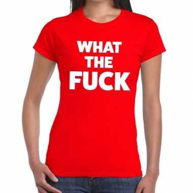 Goedkoop toppers what the fuck tekst t shirt rood dames carnavalskled
