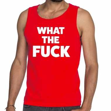 Goedkoop toppers what the fuck tekst tanktop / mouwloos shirt rood ca