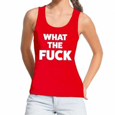 Goedkoop toppers what the fuck tekst tanktop / mouwloos shirt rood da