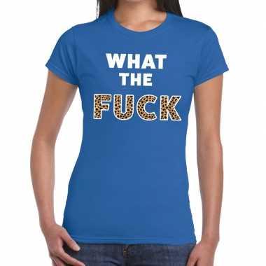 Goedkoop toppers what the fuck tijger print tekst t shirt blauw dames
