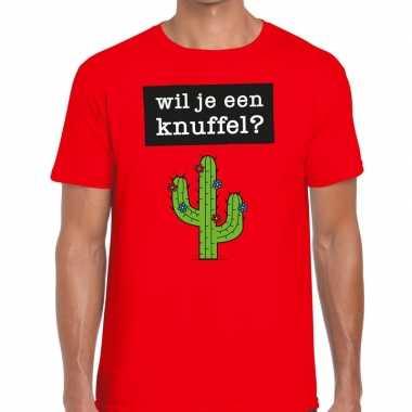 Goedkoop toppers wil je een knuffel heren t shirt rood carnavalskledi