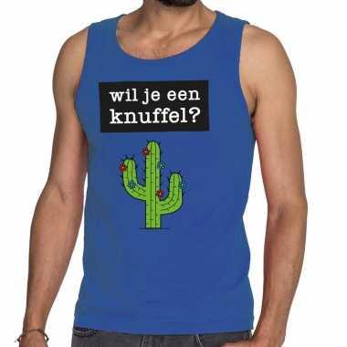 Goedkoop toppers wil je een knuffel tekst tanktop / mouwloos shirt bl