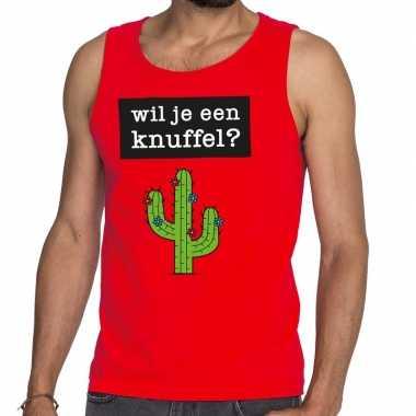 Goedkoop toppers wil je een knuffel tekst tanktop / mouwloos shirt ro