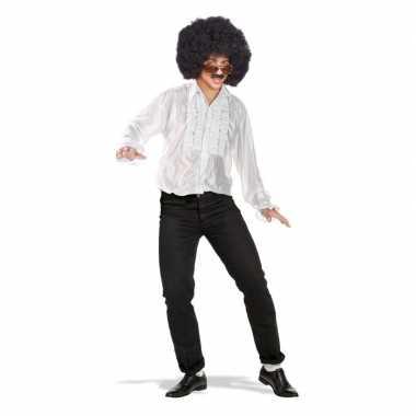 Goedkoop toppers wit disco verkleed shirt rouches carnavalskleding