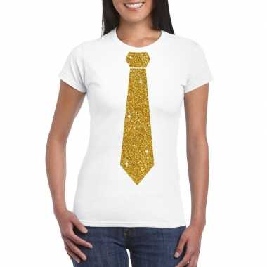 Goedkoop toppers wit fun t shirt stropdas glitter goud dames carnaval