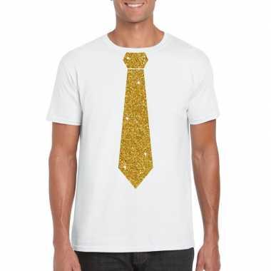 Goedkoop toppers wit fun t shirt stropdas glitter goud heren carnaval