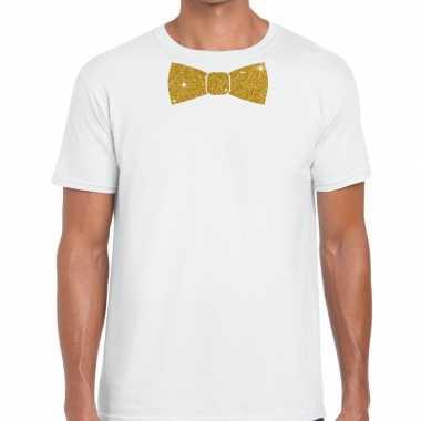 Goedkoop toppers wit fun t shirt vlinderdas glitter goud heren carnav